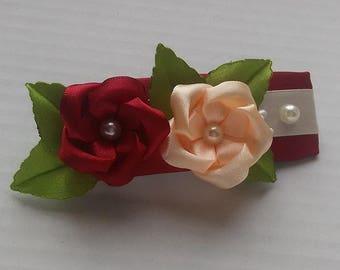 Barrette kanzashi red and beige/hair clip automaton/flowers kanzashi/clamp satin/ribbon satin