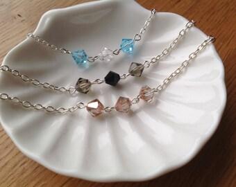 STERLING SILVER Design your own- Preciosa Czech crystal bead bracelet.