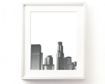 gray decor, LA skyline print instant download, Los Angeles wall art, jpg files, modern print, California printable, loft decor