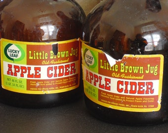 Vintage Lucky Leaf Little Brown Jug Apple Cider, Country Store Decor, Rustic Kitchen, Vintage Decor, Farmhouse Collectible, Pantry Decor