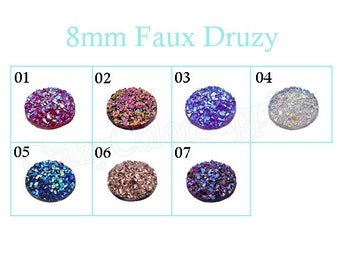 8mm Druzy Cabochons-Faux Druzy Rose Gold Cabochon-Resin Embellishment Jewelry Supplies-Earring Findings Cameo Setting-DIY faux druzy earring