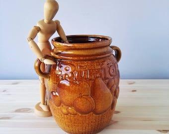 Beautiful Big Rumtopf Vase or Jar with Handles - West Germany SCHEURICH Keramik - 1970s Vintage