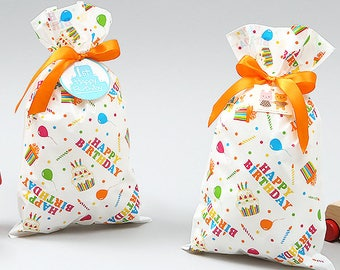 4 Happy Birthday gift bags with ribbon,birthday favor bags,gift bags with ribbon,happy birthday,birthday gift packaging,birthday party