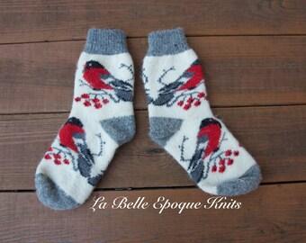 White grey socks, Knit socks for women, Womens knitted socks, Woolen socks, Knitted wool socks,