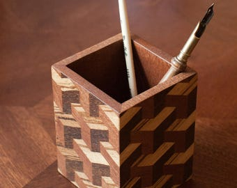 Stand for pencils. Marquetry.