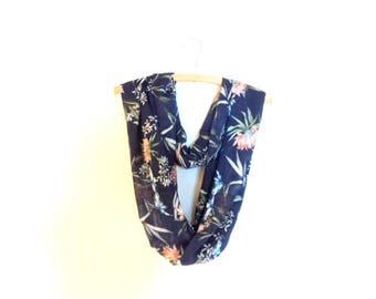 Beautiful infinity scarf. Blue scarf dark patterned flowers.