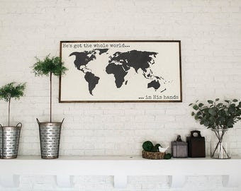 World in his hands etsy hes got the whole world in his hands world map sign 50x26 gumiabroncs Images