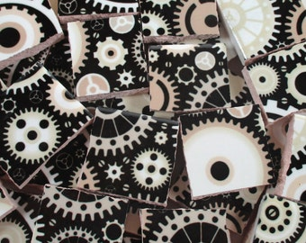 Ceramic Mosaic Tiles - Steampunk Gears Black White Grey Mosaic Tile Pieces - 40 Pieces - For Mosaic Art / Mixed Media Art/Jewelry