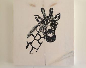 9x10 Giraffe print (white stain/black print)