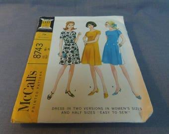 Woman's Vintage 1960s Dress Pattern, Size 18 1/2, Uncut Pattern, McCalls 8743 2 Versions