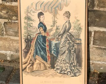 Victorian hand coloured page / picture from La Mode Illustree