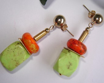 Long earrings with turquoise-Schöne summer colors