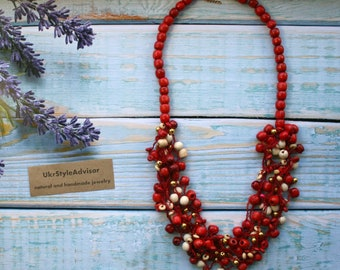Red Beaded airy wooden necklace, crochet necklace eryday jewelry, multistrand  airy necklace handmade necklace beadwork crochet air necklace