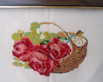 Embroidered gobelin, Embroidered tapestry, Vintage needlepoint tapestry, roses tapestry, vintage embroidery, needlepoint picture, embroidery
