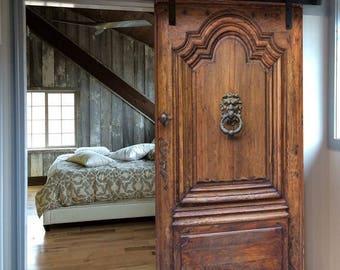 Door Wall Sticker *Old Wood Door With Ancient Knocker* / Sliding Barn Door /