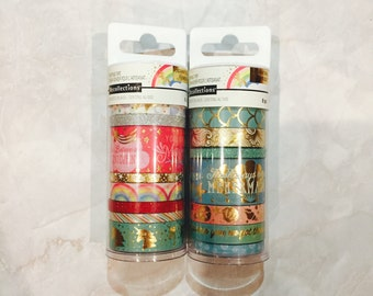 Two tubes!!!!!! Recollections Washi Tape- 2tubes-Enchanting tape set. mermaid. magical. Red. Blue. Ocean. Rainbow