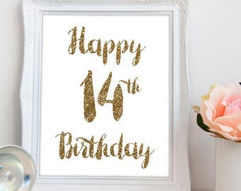 Happy 14th birthday PRINTABLE, printable happy 14th birthday, printable happy 14th sign, happy 14th party printable, INSTANT DOWNLOAD