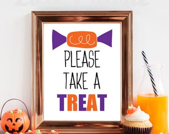 PRINTABLE Please take a treat sign / Take a treat printable / Candy bowl sign printable / printable take a treat / INSTANT DOWNLOAD