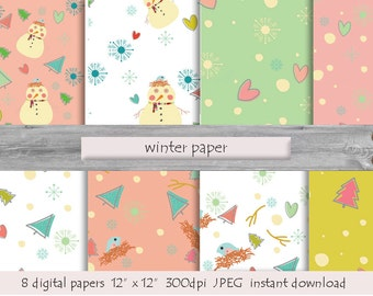 DIGITAL PAPER Winter paper cards  instant download snowman bird fir-tree snowballs snowflakes milk white turquoise pink