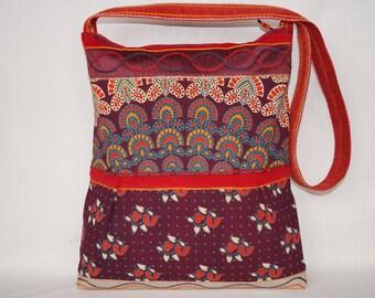 Maroon bag, large shoulder bag, tribal handbag, boho bag, flower bag, indian  bag, vintage bag, gypsy bag, beach bag, shopping bag, tote bag