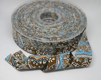 Blue and Brown Paisley Bias Binding - Soft 100% cotton - 2.5cm wide - In Shades of Olive Green, Light Blue, Cream With Black Outlines