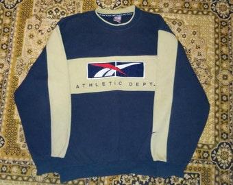 Reebok sweatshirt, Athletics Department vintage blue RBK hoodie, 90s hip hop clothing, old school 1990s gangsta rap, hip-hop, size M Medium