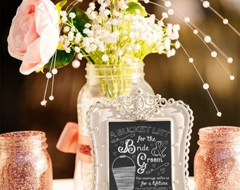 Wedding Bucket list, guest book, alternative sign in book, bucket list wedding, chalkboard print, chalkboard wedding decor, chalkboard sign