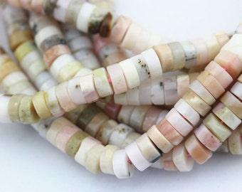 "Natural Pink Opal Heishi Loose Beads Size:3X5mm/3X6mm/3x7mm 15.5"" Long Per Strand.I-OPA-0039"