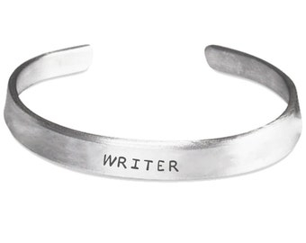 WRITER - Stamped Bangle Bracelet - Gifts for Writers - Writing Jewelry - Made in the USA
