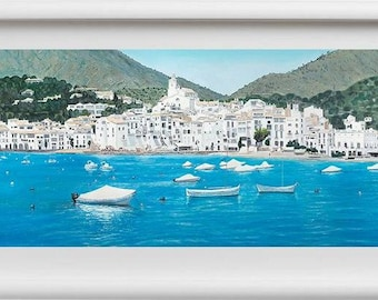 """Giclee with white stripe-Giclee with fringe white """"Cadaqués"""""""
