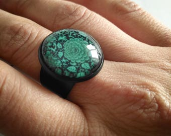 Cabochon ring, flower ring, summer ring, adjustable ring