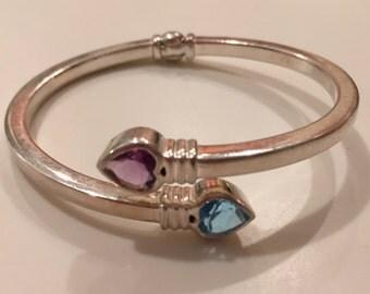 Sterling Silver Hinged Bangle Bracelet with Gems
