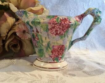 Vintage James Kent Ltd Chintz creamer Hydrangea tableware