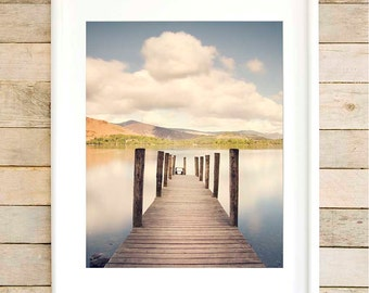 Lake District art print Lake house decor 1st anniversary gift New house gifts Large wall art  Rustic lakehouse first home gift ideas for him