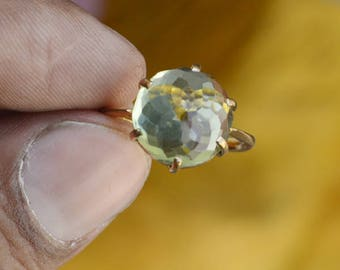Green Amethyst Ring Gemstone Ring, Amethyst Jewellery Sterling Silver Ring, Yellow Gold Overlay Prasiolite Ring February birthstone Ring