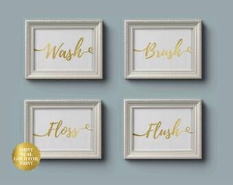 Bathroom Decor - Set of 4 - Wash, Brush, Floss, Flush, Bathroom Wall Art, Bathroom Prints, Bathroom Rules, Gold Foil Art, Kids Bathroom