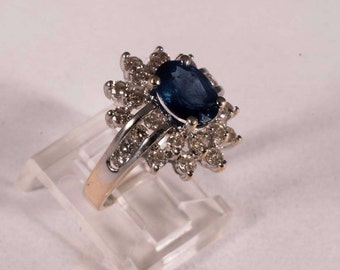 14K Yellow Gold Sapphire and Diamond Cluster Ring, size 6