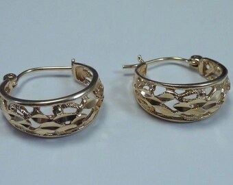 14K Yellow Gold Filigree Hoop Earrings