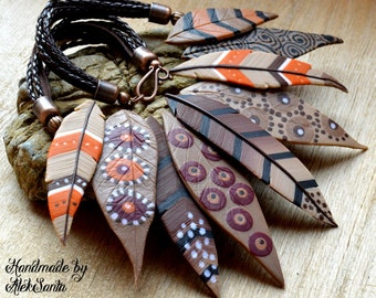 Bib necklace Statement necklace Brown necklace Polymer clay jewelry Native American necklace Feather necklace Autumn necklace Fall leaves