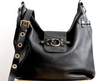 Large NANNINI Black Leather Shoulder Bag, Large Black Leather Cross Body Bag, Large Black Leather Hobo Bag