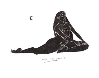 Ardha Bujangāsana Illustration, Digital Print