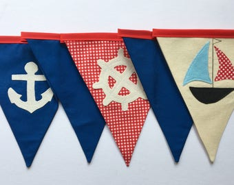 Nautical Fabric Bunting, Reversible Bunting, Boy's Bunting, Kid's Room