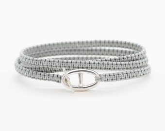 Gray marine mesh and stem in Sterling Silver Clasp bracelet