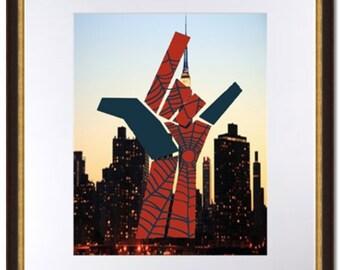 Spiderman Web Hand-Minimalist-NYC Skyline-Digital Print