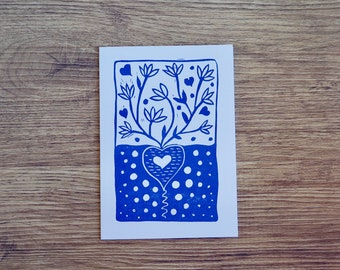 Block Printed Greeting Card with Heart Growing Design
