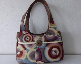 Handbag, jacquard, multicolored fabrics, fancy