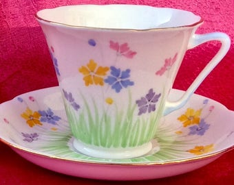 Pretty in Pink- Royal Grafton Art Deco Teacup and Saucer