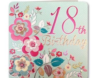 Sale! 70% off Was 3.25 now 0.98p Festive Folk Collection - Happy 18th Birthday - Birthday Card for Her -18th Birthday Card -Handmade -  FE67