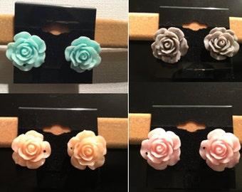 Blue, Pink, Orange, Gray, Flower Earrings, Roses, Rose Stud Earrings, Flower Stud Earrings, Bridesmaid Gift, Bride, Flower Jewelry, Floral,