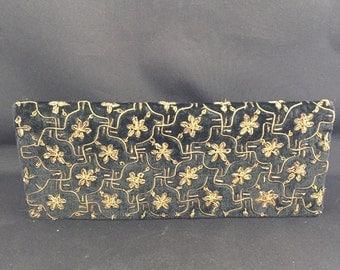 Black Velvet and Bronze Threaded Clutch